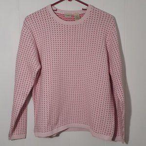 L.L. Bean Light Pink Sweater w/ Pink & Red size L